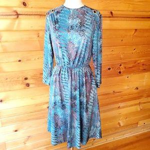 1970s Blair Multi-Color Polyester Dress
